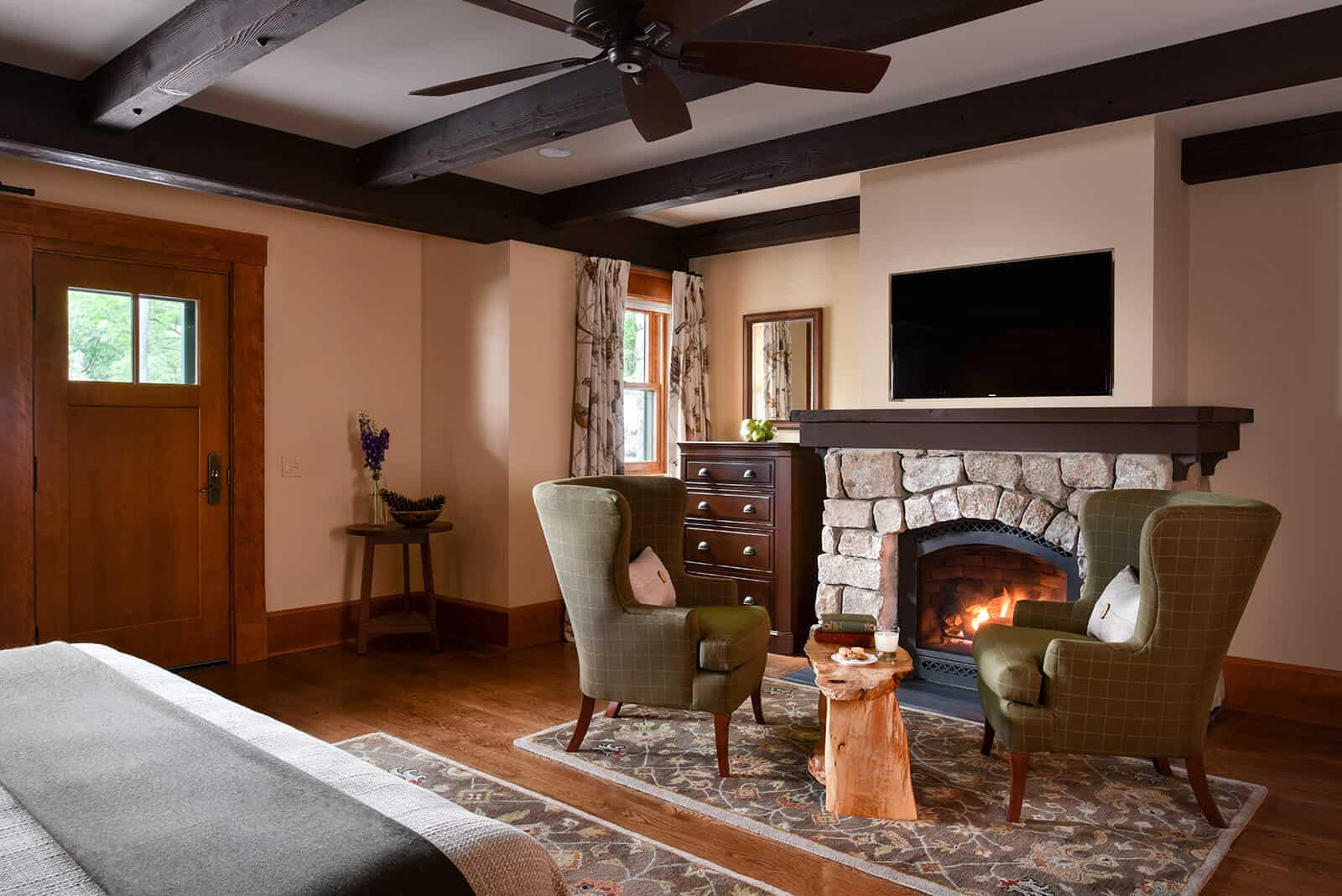 Guest Room Stone Fireplace