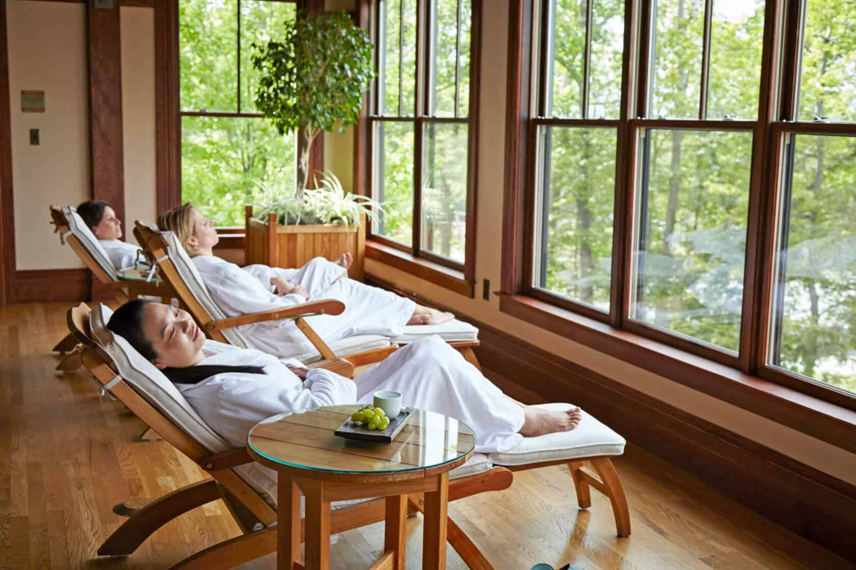 Girlfriends Relaxing in Mohonk Spa Veranda