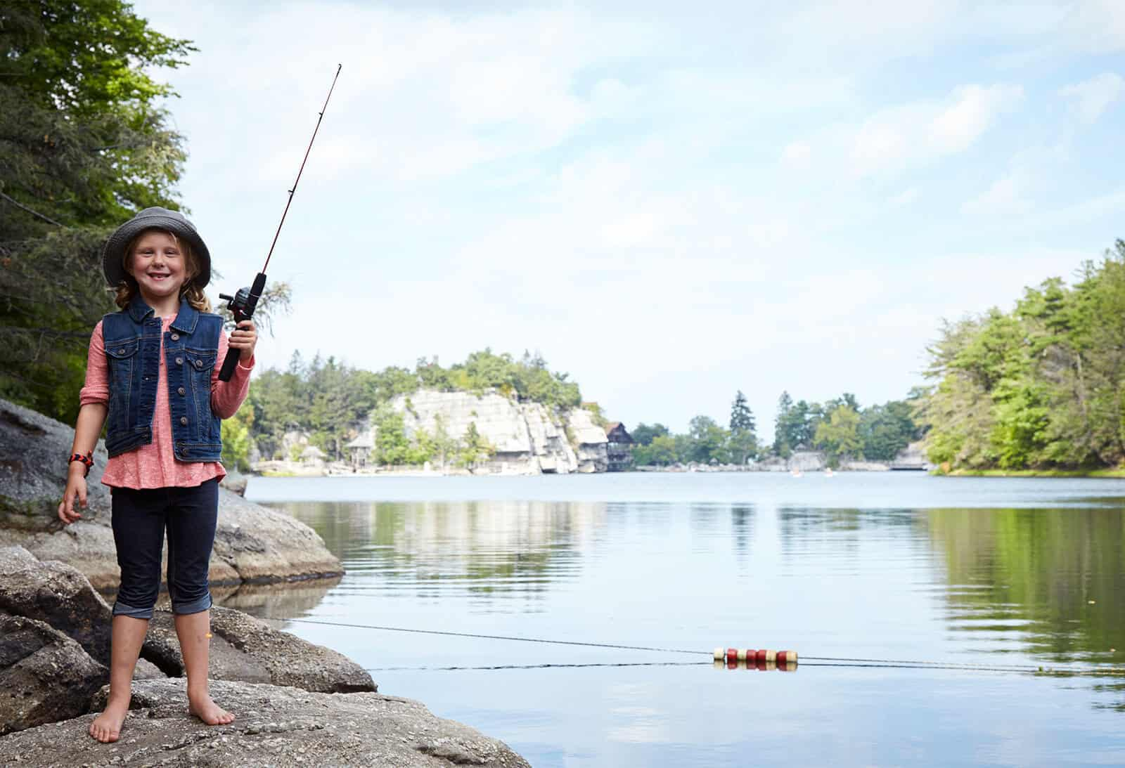 Young girl fishing on Mohonk