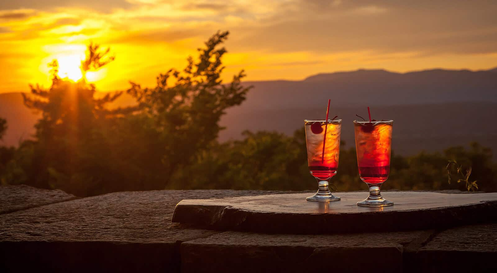 Cocktails while watching sunset on Hudson Valley
