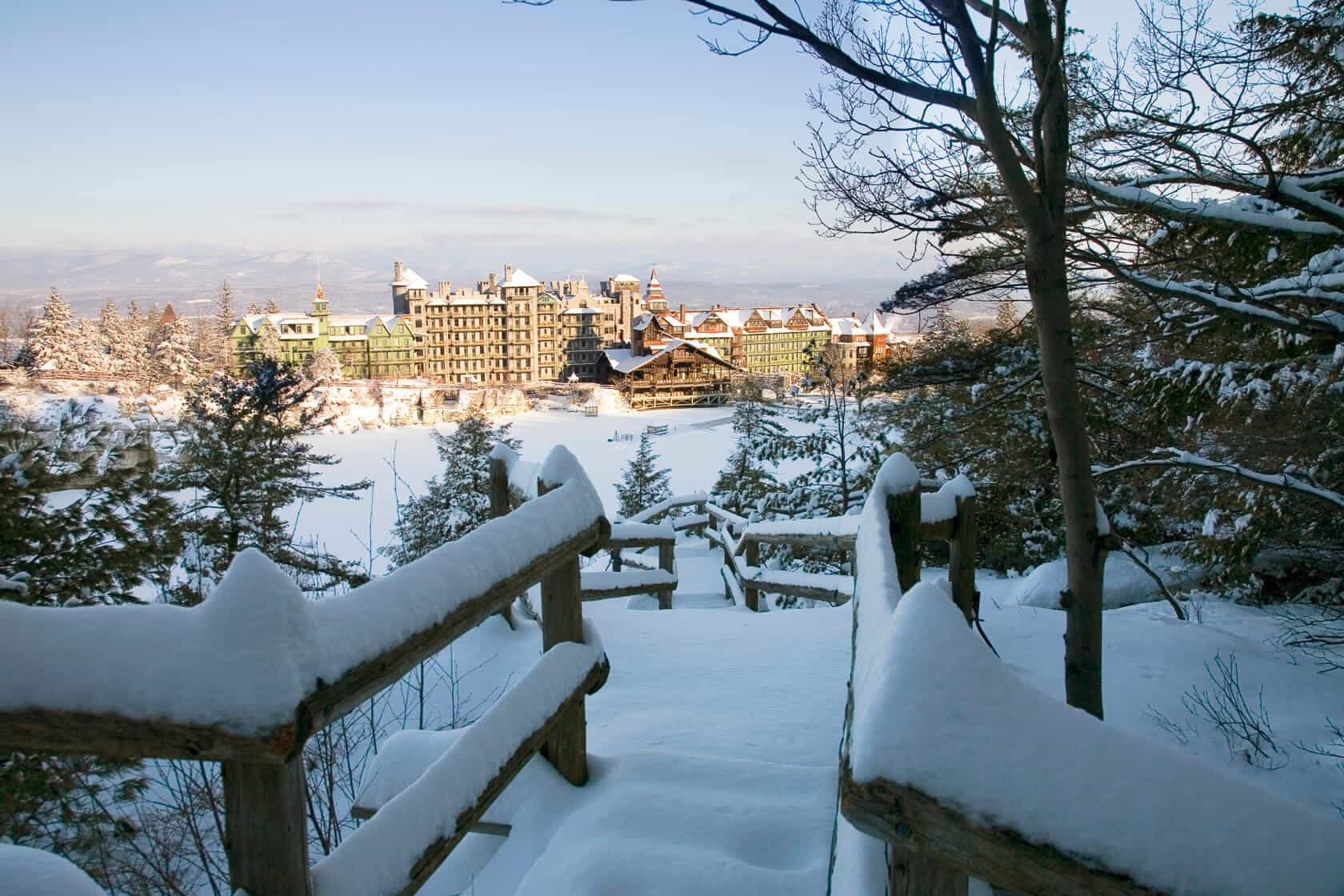 Mohonk Mountain House and Lake covered in snow