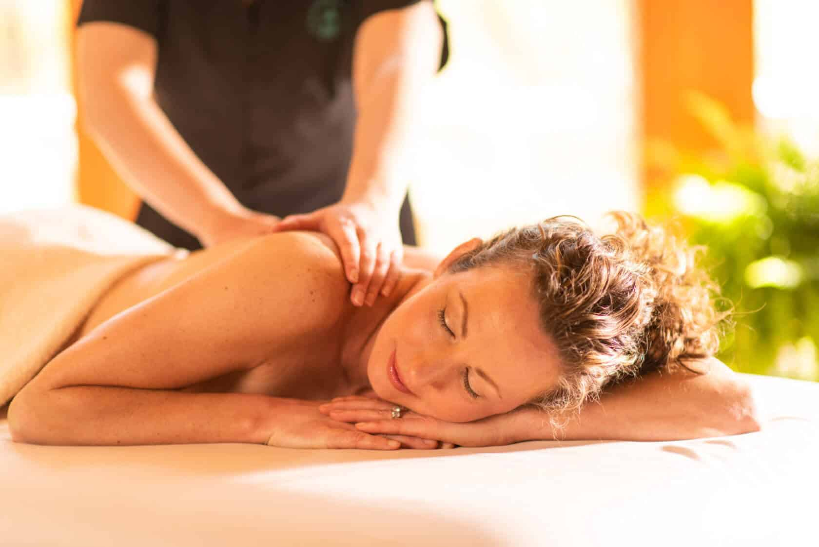 Woman receiving massage at New York Spa