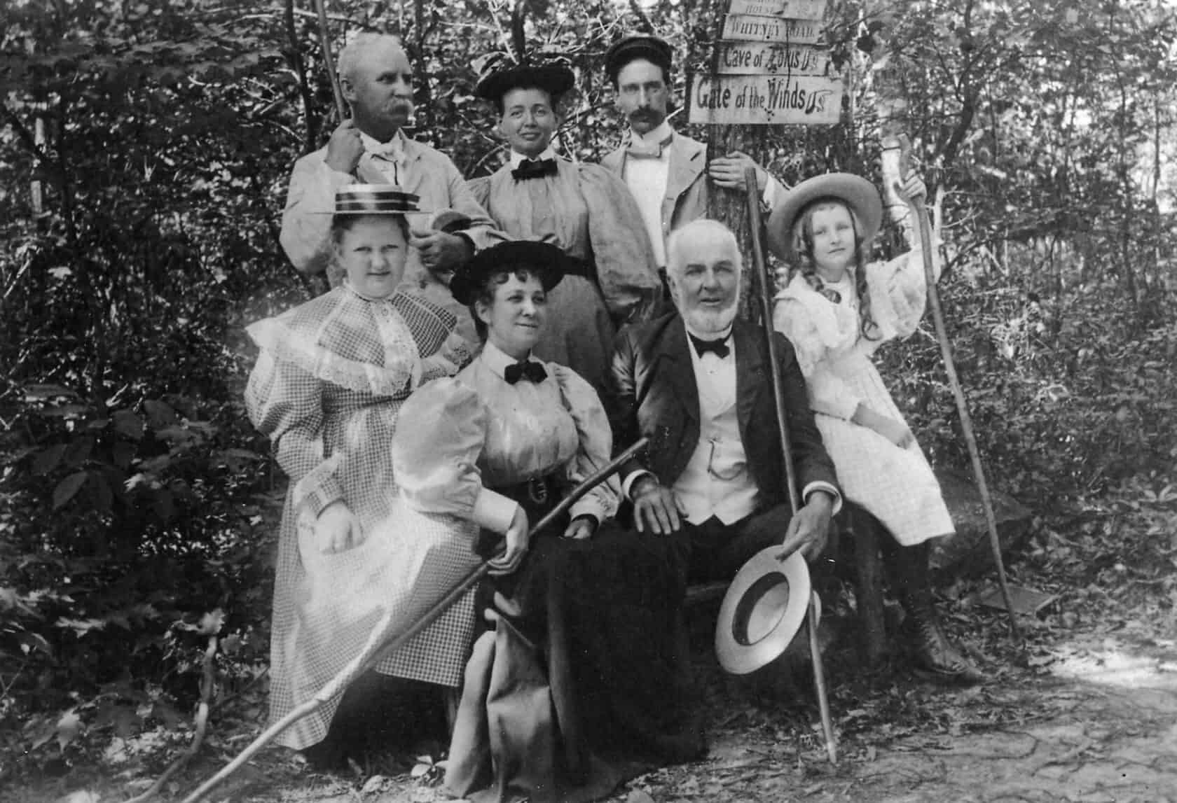 Albert Smiley leads a hike with guests, 1895