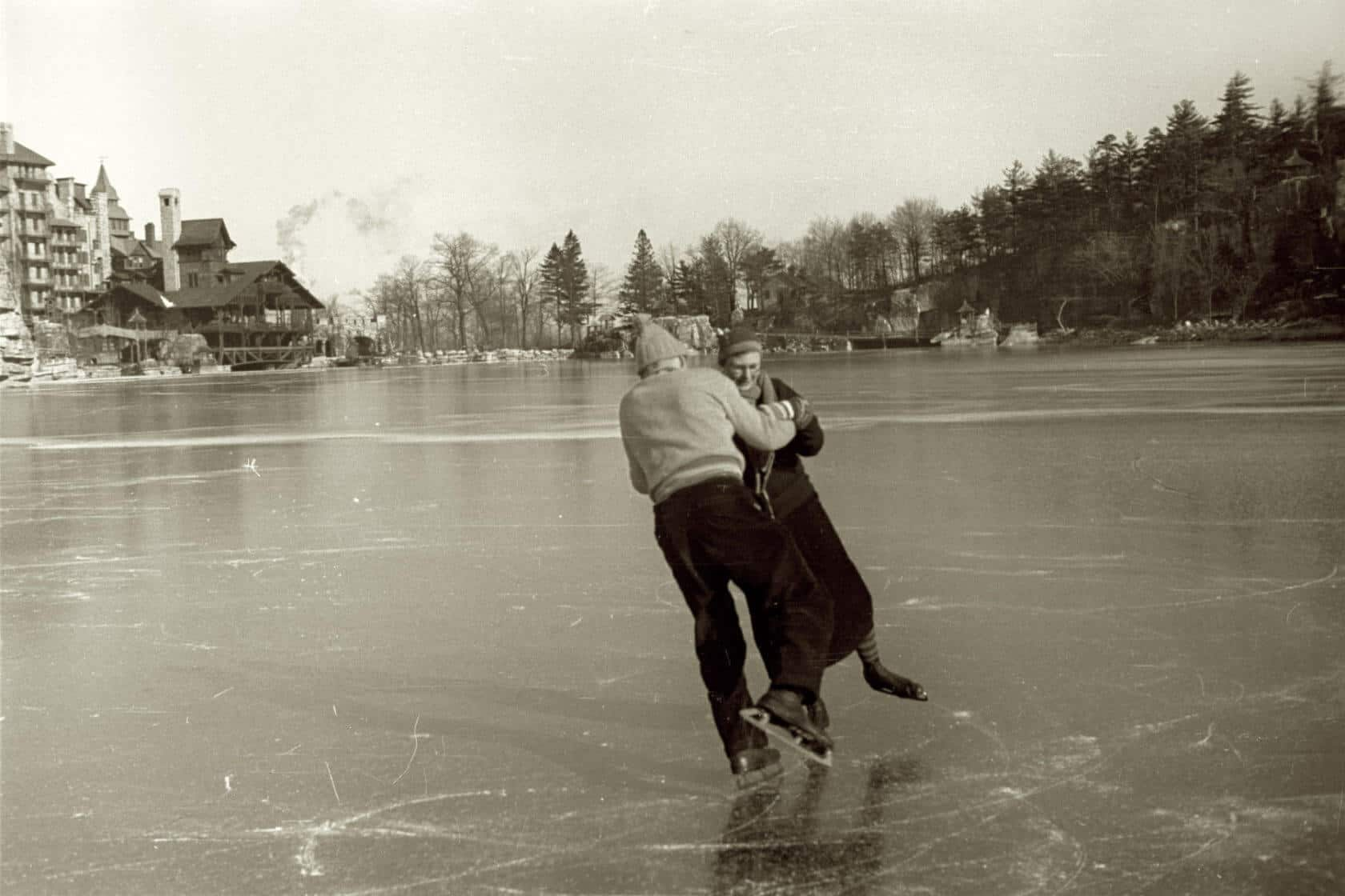 Keith and Anna Smiley ice skating on Lake Mohonk, 1935